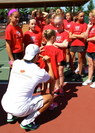 Ball girls lining up to get their t-shirts signed